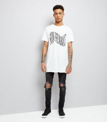 White Your Fear Us Print Longline T-Shirt New Look