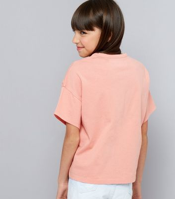Teens Coral Ripped T-Shirt New Look