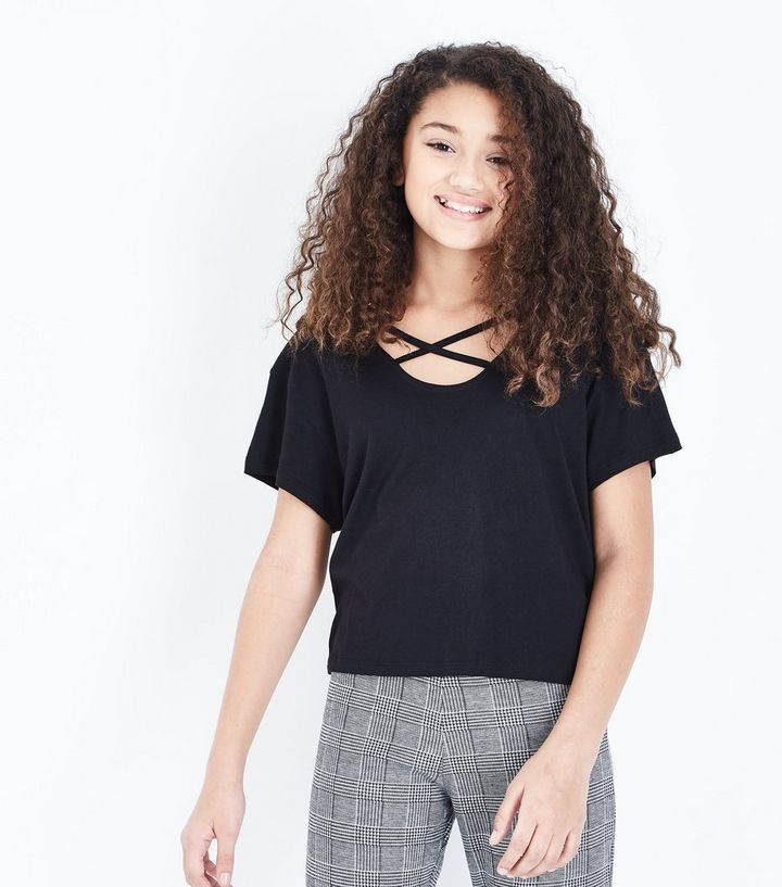 Teens Black Cross Strap Front T-Shirt
