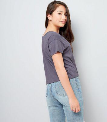 Dark Grey Cross Strap Front T-Shirt New Look