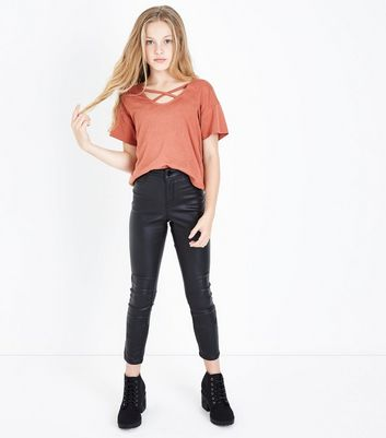 Teens Chestnut Cross Strap Front T-Shirt New Look