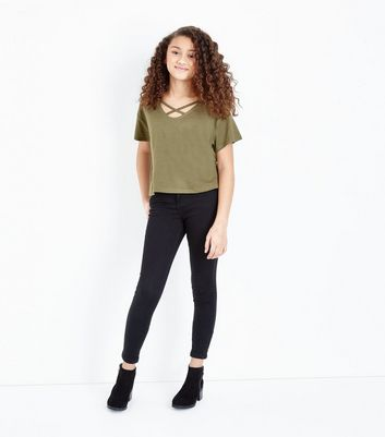 Teens Khaki Cross Strap Front T-Shirt New Look