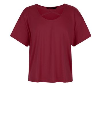 Teens Burgundy Cross Strap Front T-Shirt New Look
