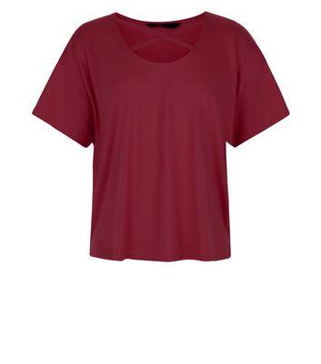 Teens Burgundy Cross Strap Front T-Shirt New Look