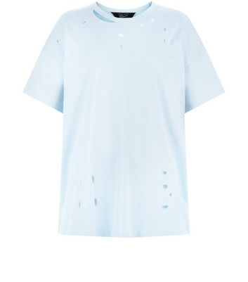 Teens Pale Blue Ripped Oversized T-Shirt New Look