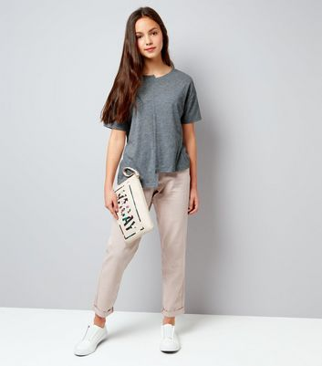 Teens Grey Asymmetric Spliced T-Shirt New Look
