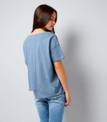 Teens Pale Blue Asymmetric Spliced T-Shirt New Look