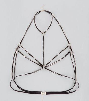 Black Studded Body Harness New Look