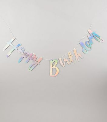 Silver Iridescent Happy Birthday Bunting New Look