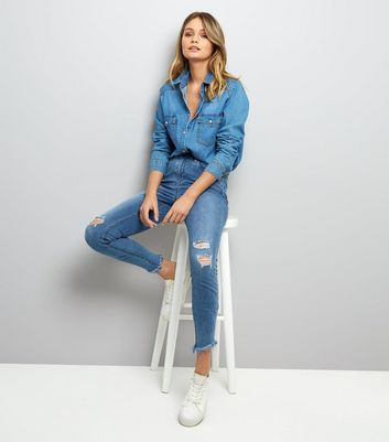 Tall Blue Ripped Knee Skinny Jeans New Look