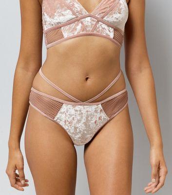 Pink Velvet Fishnet Trim Thong New Look