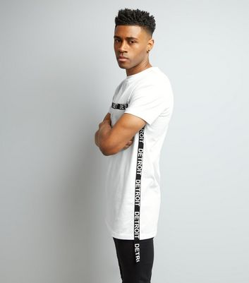 White Detroit Tape Trim Longline T-Shirt New Look