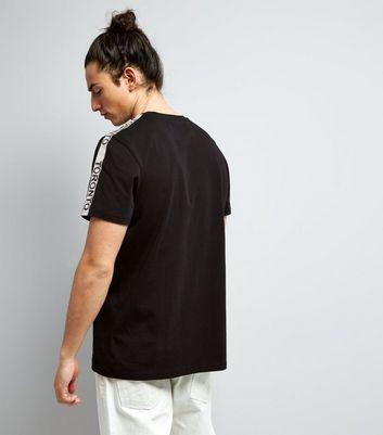 cb916073d de Camiseta negra estilo TorontoNuevo manga con de cinta FTqBaSw4