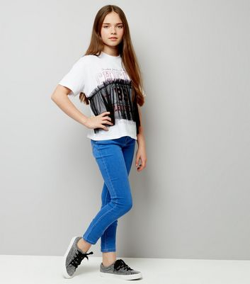 Teens White Chicago Print Gathered Mesh Overlay T-Shirt New Look