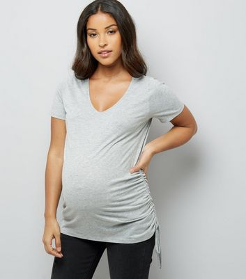 Maternity Grey Ruched Side T-Shirt New Look