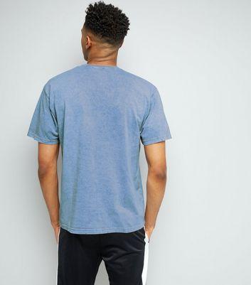Blue No Logo Print Distressed T-Shirt New Look