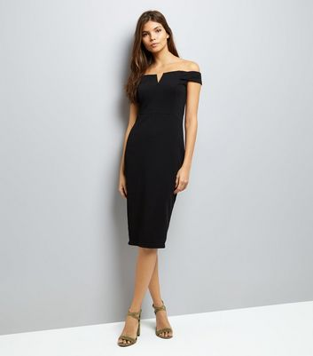 AX Paris Black Bardot Neck Midi Dress New Look