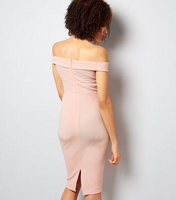ax-paris-pink-bardot-neck-midi-dress