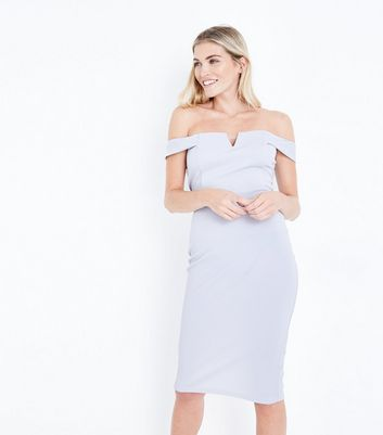 AX Paris Silver Bardot Neck Midi Dress
