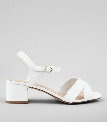 Wide Fit White Comfort Cross Strap Block Heeled Sandals