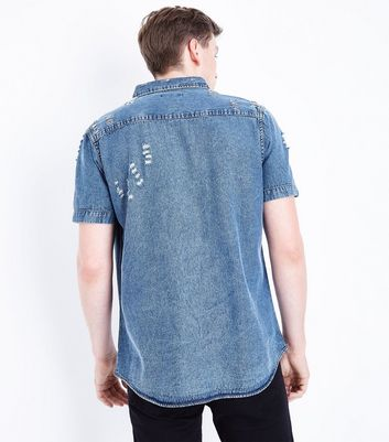 Blue Ripped Short Sleeve Denim Shirt New Look