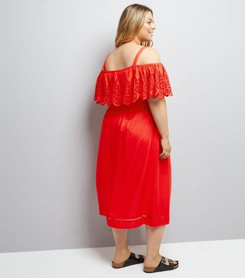 Curves Red Cut Out Cold Shoulder Midi Dress New Look