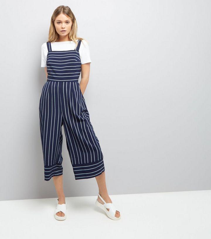 70858dc4263 Blue Stripe Culotte Jumpsuit
