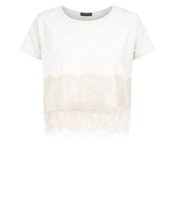 Cream Lace Trim Jersey Pyjama T-Shirt New Look