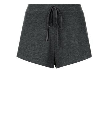 Grey Lace Trim Jersey Pyjama Shorts New Look