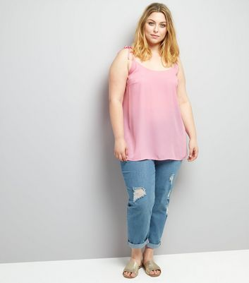 Curves Pink Tie Strap Cami New Look