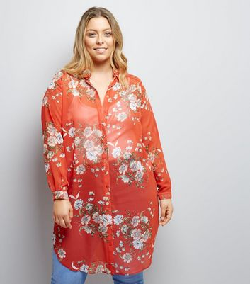 Curves Red Floral Print Longline Shirt New Look