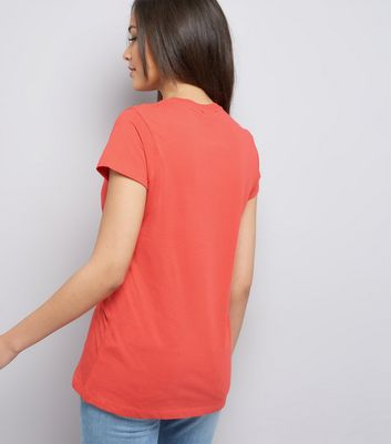 Coral Marl Cotton T-Shirt New Look