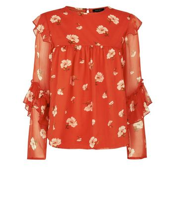 Red Floral Print Frill Sleeve Chiffon Top New Look