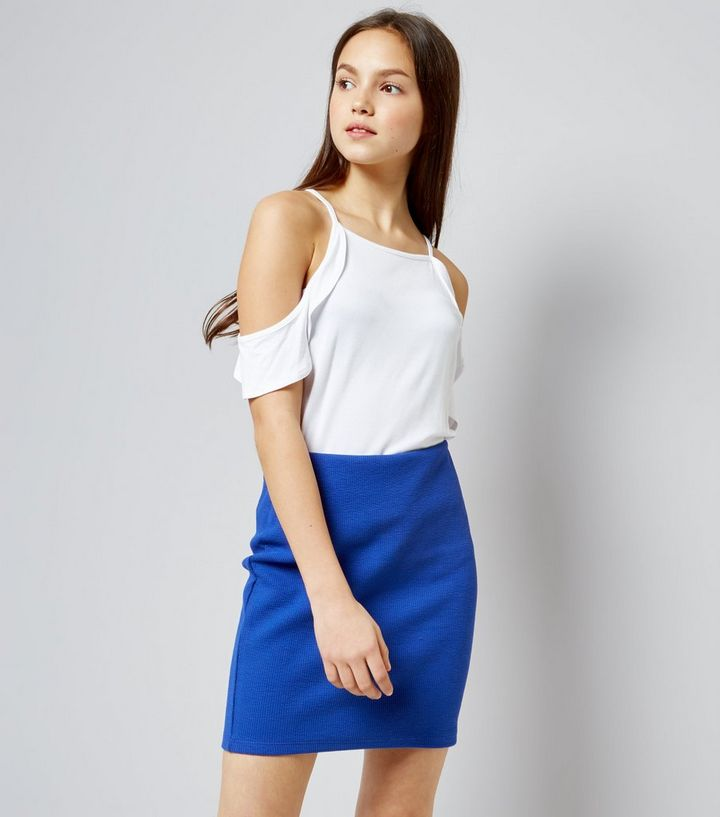 714ed24a1e2b7 Teens Blue Ribbed Tube Skirt