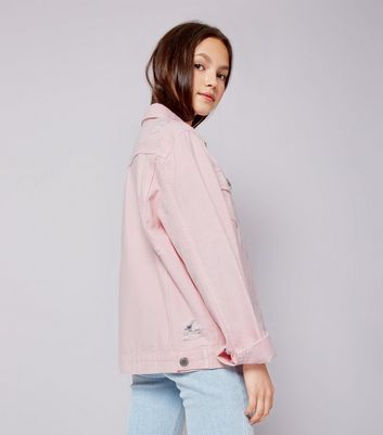 Teens Shell Pink Denim Jacket New Look