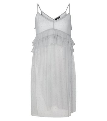 Petitie Grey Spot Print Frill Trim Mesh Cami Dress New Look