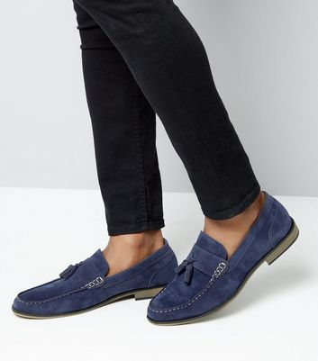 Blue Contrast Stitch Tassel Loafers New Look