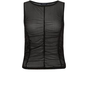 Black Ruched Mesh Vest New Look
