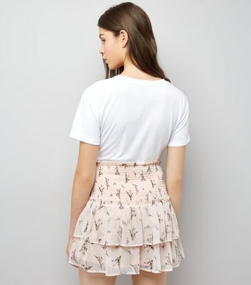 Pink Floral Print Tiered Mini Skirt New Look