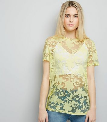 Yellow Floral Print Short Sleeve Top New Look