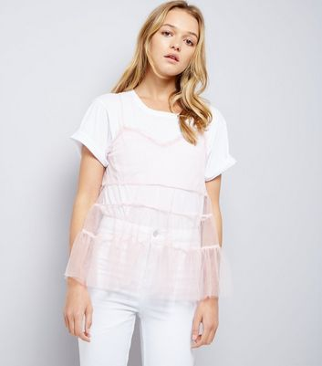 Shell Pink Tiered Tulle Cami Top New Look