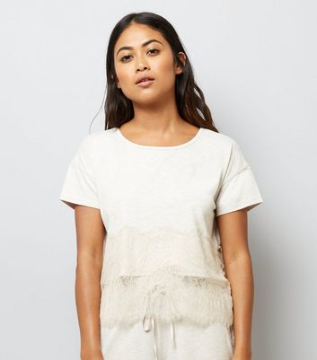 Petite Cream Lace Trim Jersey Pyjama T-Shirt New Look
