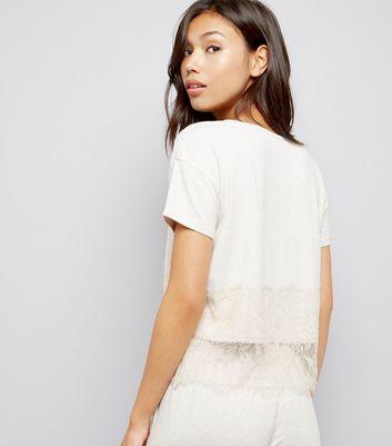 Tall Cream Lace Trim Jersey Pyjama T-Shirt New Look
