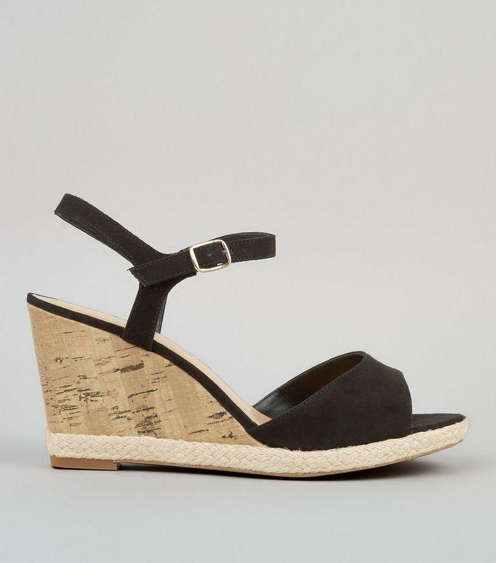 6c8651e73d3 Wide Fit Black Cork Wedge Sandals