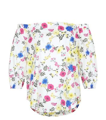 Petite White Floral Print Bardot Neck Top New Look