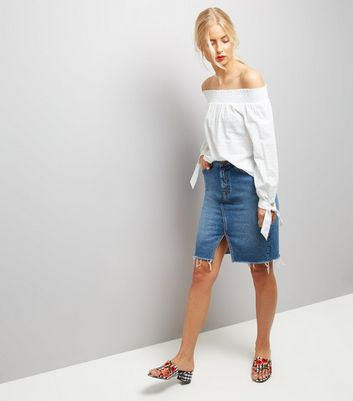 White Tie Sleeve Bardot Neck Top New Look