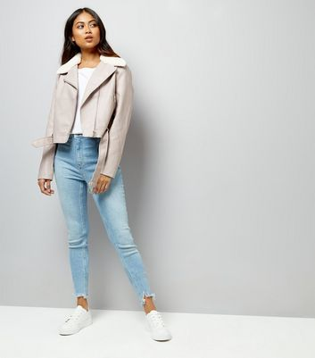 Petite Mink Faux Fur Trim Leather-Look Biker Jacket New Look