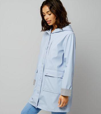 Petite Pale Blue Stripe Cuff Longline Matte Anorak New Look