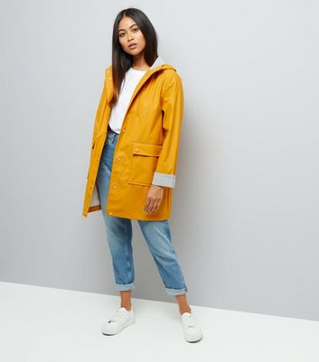 Petite Yellow Stripe Cuff Longline Matte Anorak New Look