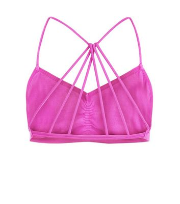Bright Pink Strappy Back Seamless Bralet New Look